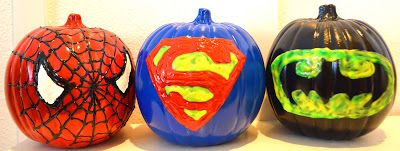 Superhero pumpkins, Spiderman pumpkin, Superman pumpkin, batman pumpkin, Used Craft pumpkins from Michales, spray paint, And glow in the dark/regular puffy paint.