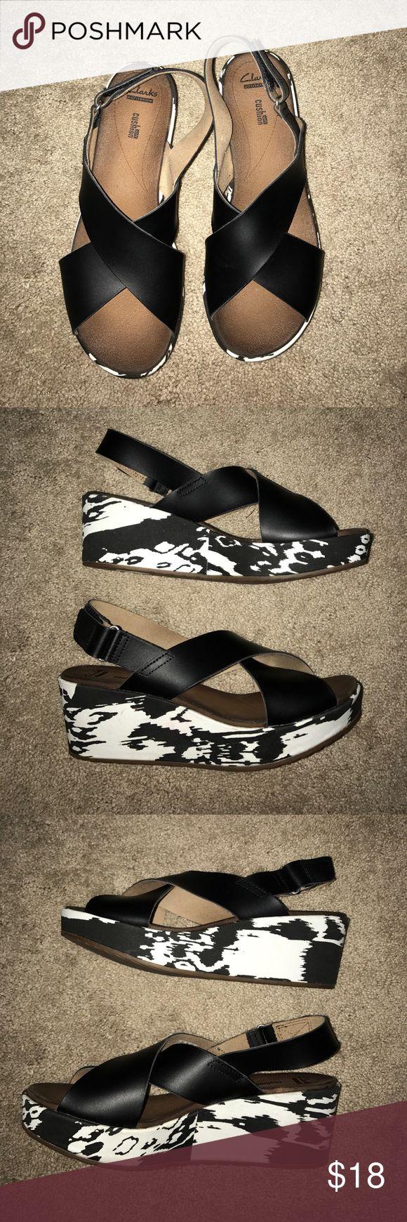 Black sandals 2 inch heel - Clarks Black And Cream Platform Sandals 2 Inch Heelsclark