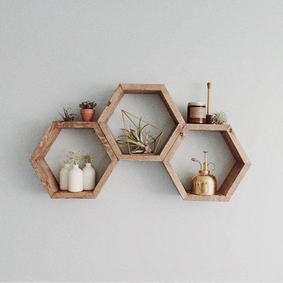 Honeycomb Shelf. Geometric shelf. Modern shelf. Hipster Apartment. Bohemian Shelf