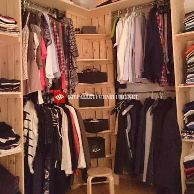 Mueblesdepalets.net: Perchero y estantes para almacenaje de ropa