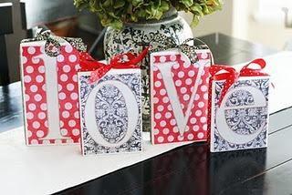Love Blocks: Valentines Blocks, Crafts Ideas, Valentines Day, Valentine'S S, Wood Blocks, Scrapbook Paper, Holidays Decor, Valentines Decor, Crafty Ideas