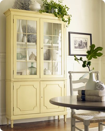 This china cabinet is cute too, but I would paint it a different color. Perhaps a light gray or pale robins egg blue??