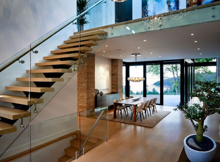 stairs in elegant modern house in west vancouver canada - Living Room Design With Stairs