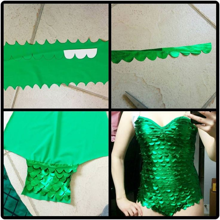 How to make scales. Can use a shiny stretch fabric and cut out rows of scales by tracing a pattern. Also cut out of cardboard. Then sew them onto the bodysuit in layers.