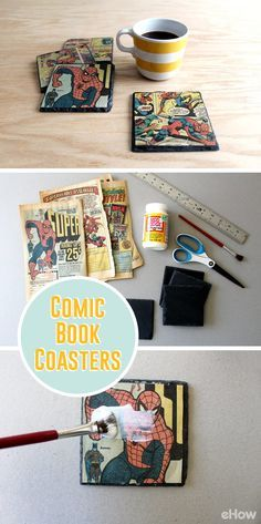 Transform your favorite comic book pages into vintage slate coasters with decoupage! Makes great sentimental gifts that could be displayed on a desk at work or at the coffee table at home. Requiring only $20 to make, you can't beat their budget-friendly price! DIY here: http://www.ehow.com/how_12343184_decoupage-vintage-comic-books-onto-slate-coasters.html?utm_source=pinterest.com&utm_medium=referral&utm_content=freestyle&utm_campaign=fanpage