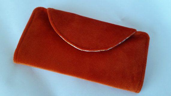 Orange suede Fiona wallet a Clobird Design pattern