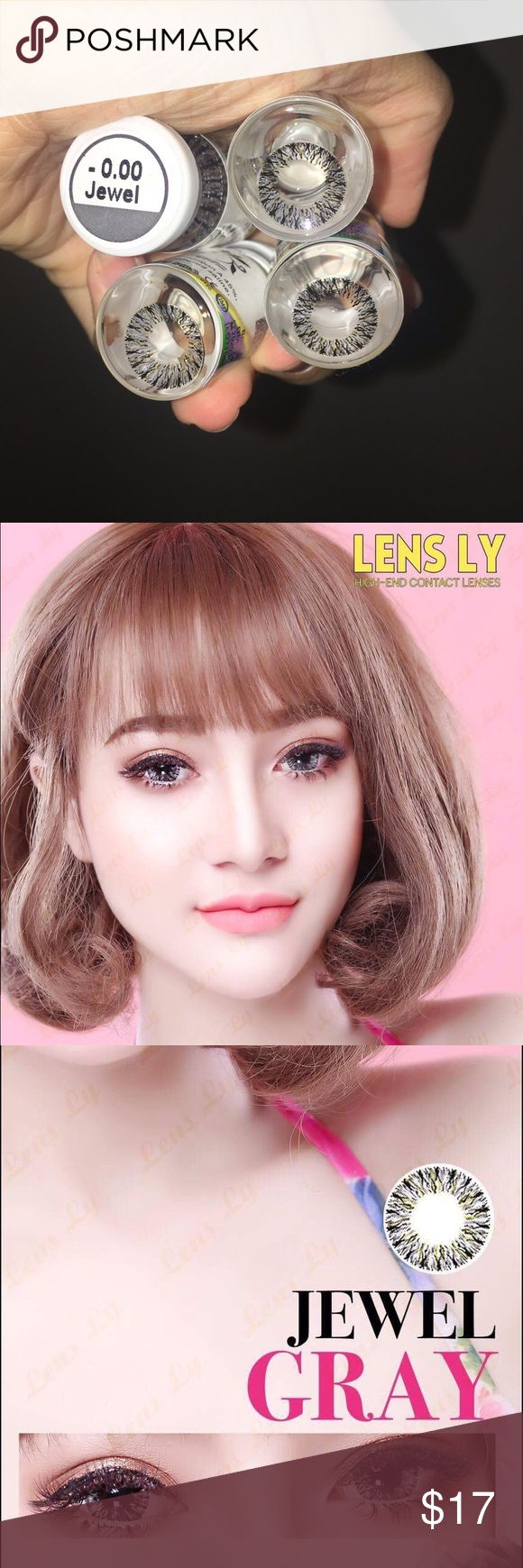 Gray Non prescription color contact lens Jewel gray. DIA: 14.0 . Case , mirror included. Made in Korea bella  Makeup
