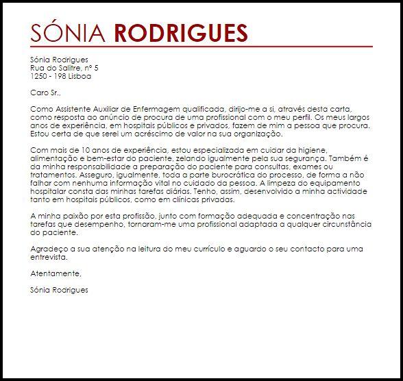 Carta de apresentação de Assistente Auxiliar de Enfermagem
