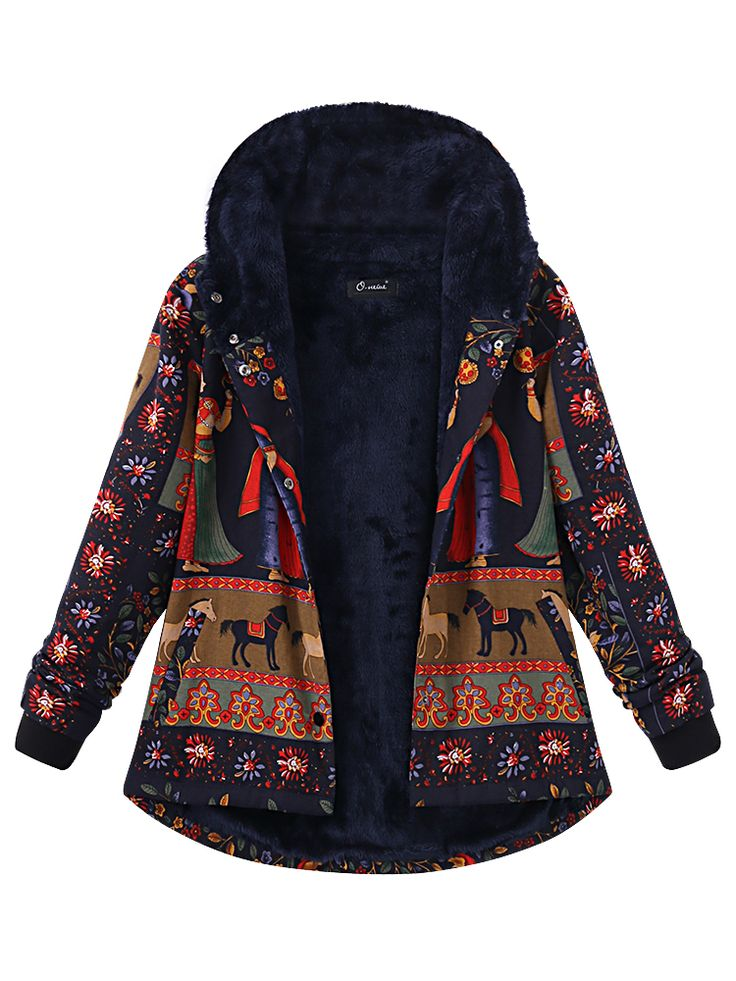 O-NEWE Casual Printing Hooded Thick Coat For Women - Newchic Plus Size Outerwear Mobile