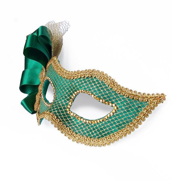 foto de Emerald Green & Gold Masquerade Mask Venetian Style by