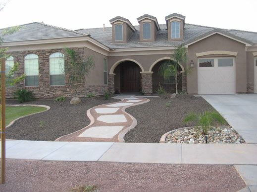 Rock landscaping idea for front yard