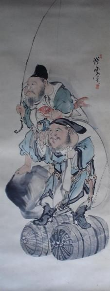 Ebisu, Daikoku Figure Kawanabe Kyōsai brush - night story antique lecture