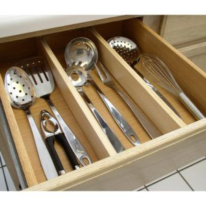 Natural Wood Expandable Kitchen Drawer Dividers