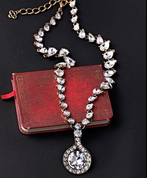 Rhinestone Drop Pendant Necklace