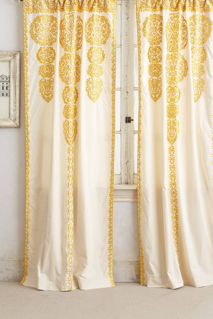 Yellow patterned curtains - Marrakech Curtain Anthropologie Com Patterned Curtainsyellow