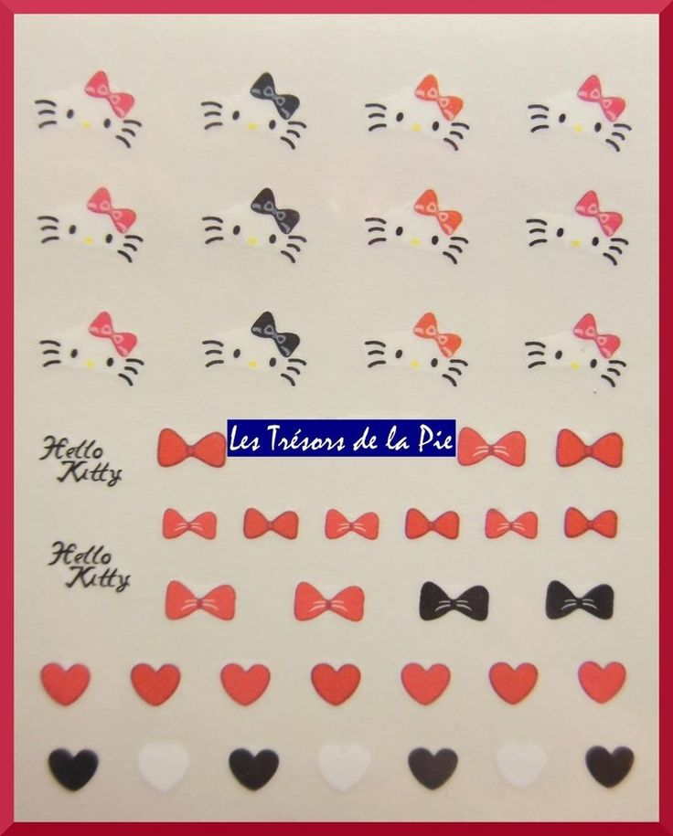 STICKERS ONGLES WATER DECAL (x41) - Nail art - Hello Kitty - Noir & rouge