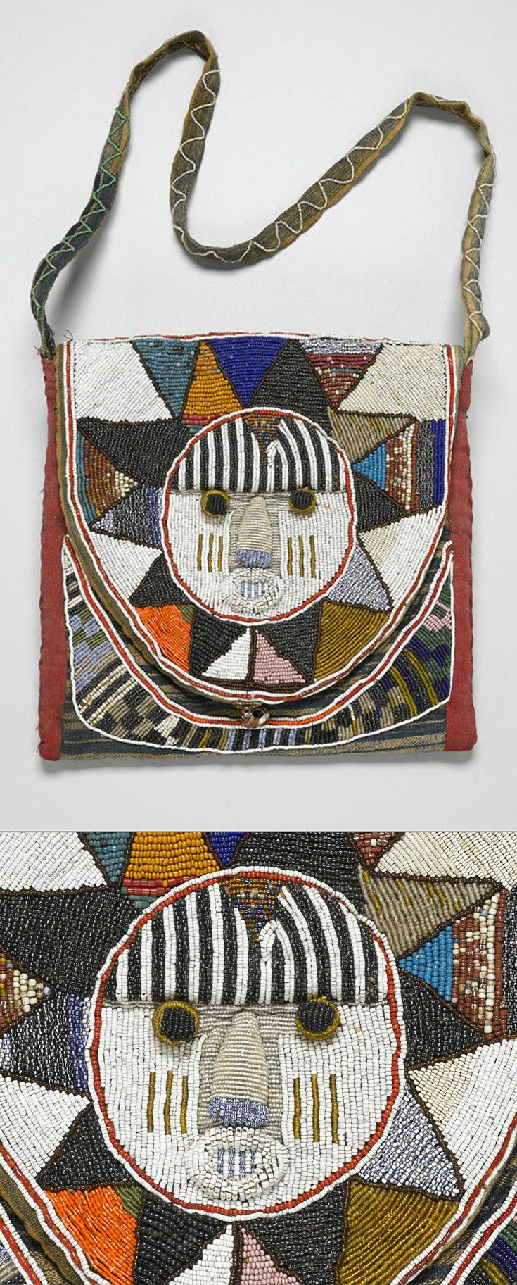 Africa   Diviner's bag ~ apo ifa ~ from the Yoruba people of Nigeria   Glass beads, cotton; bead embroidery (couching)