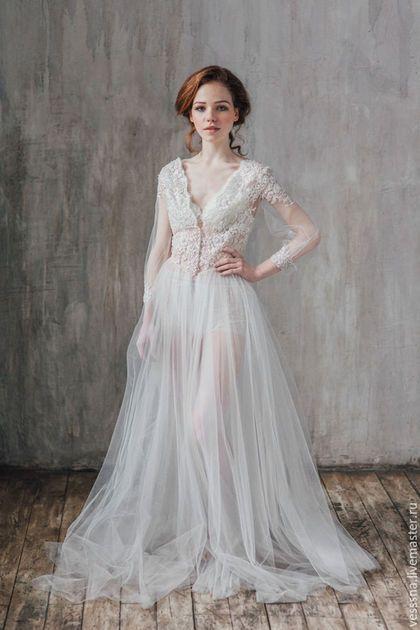 Халаты ручной работы. Ярмарка Мастеров - ручная работа. Купить Будуарное платье White Classic. Handmade. Свадебное платье