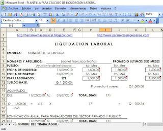 Calculo de liquidación y prestaciones laborales en excel ~ Herramientas gratis en Excel -Descargar software contable gratis