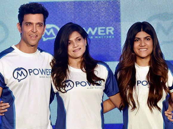 Hrithik Roshan along with Neerja Birla and daughter Ananya Birla, Mpower during launch of Mpower, a mental health Centre in Mumbai