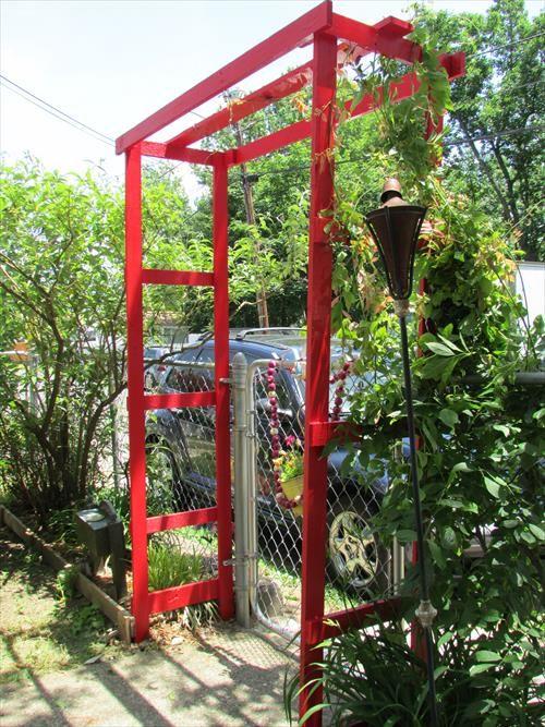 214 best images about pallet garden on pinterest wooden for Wooden garden arch designs