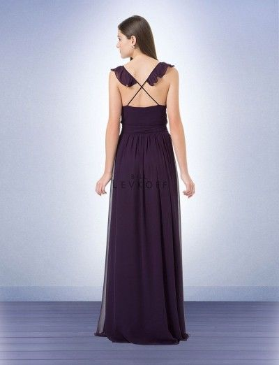 Bill Levkoff 1216 Wrap Bridesmaid Gown with Ruffle- BACK VIEW
