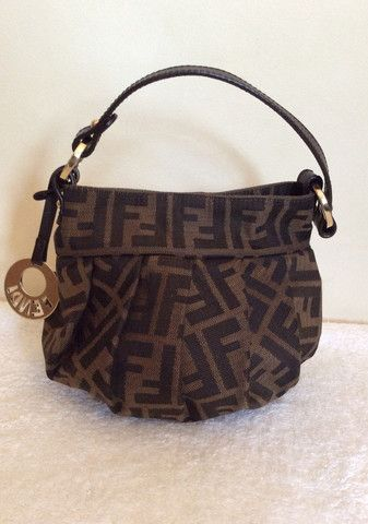 FENDI SMALL BROWN LEATHER & CANVAS POUCHETTE BAG - Whispers Dress Agency - Evening Bags - £100