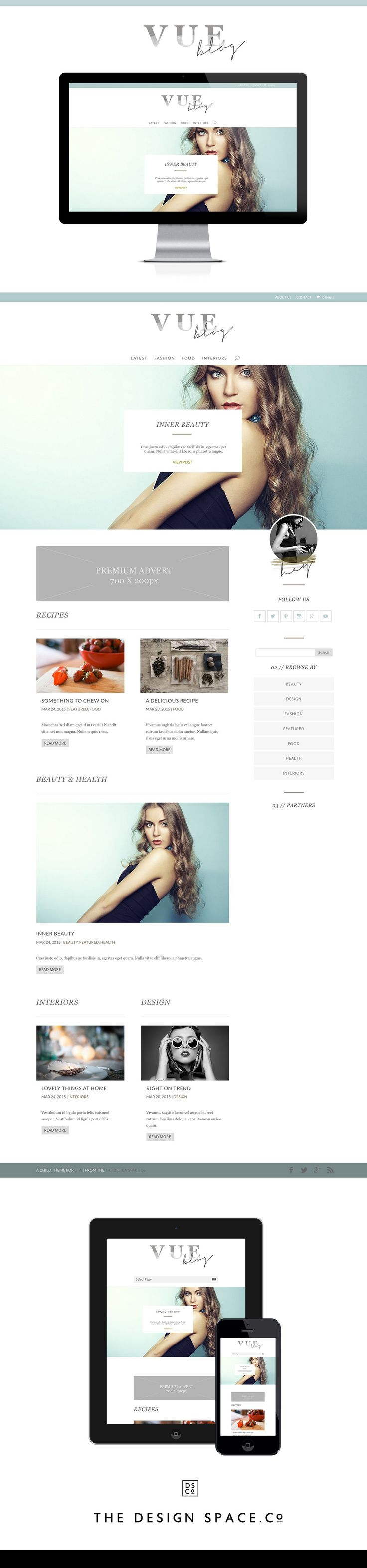Vue Website Theme for Divi. Divi Child Theme, Website design, clean website, WordPress, blog design, fashion blogger. Theme By the thedesignspace.co