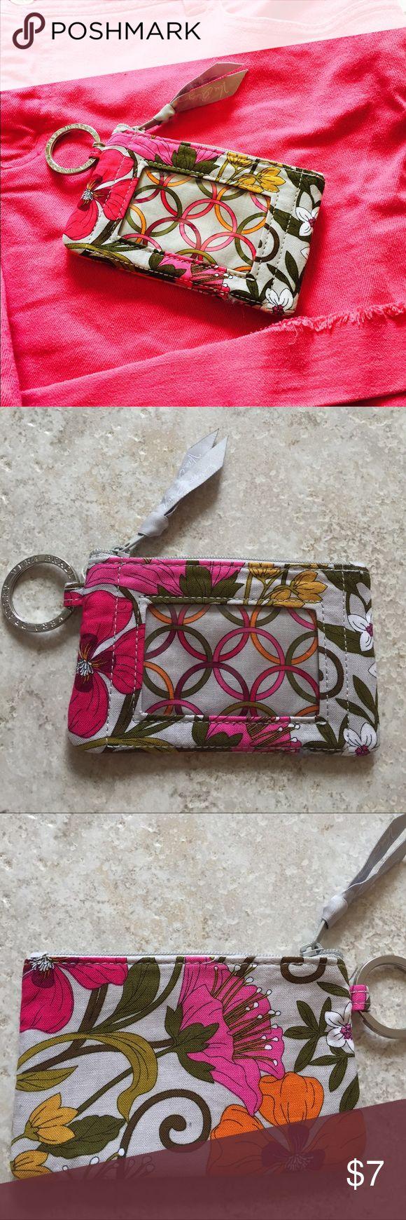 NWOT Vera Bradley ID Holder NWOT Vera Bradley ID holder in a fun grey, orange & pink floral pattern Vera Bradley Accessories Key & Card Holders