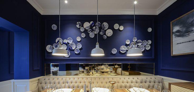 #restaurantandbardesign #architecture #restaurantdesign #blue #ceramic #restaurant #mythos #craiova #romania #design #yellowoffice #ikea #paintedceramicplates #paintedplates