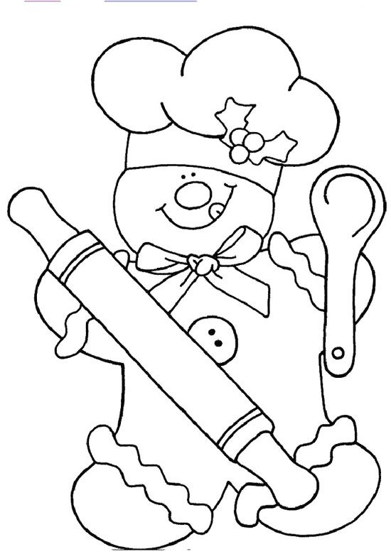 Chef Gingerbread Coloring Page