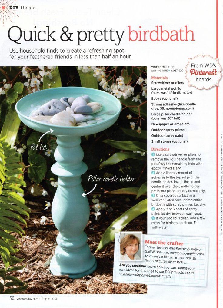 diy birdbath crafts diy pinterest pot lids bird baths and. Black Bedroom Furniture Sets. Home Design Ideas