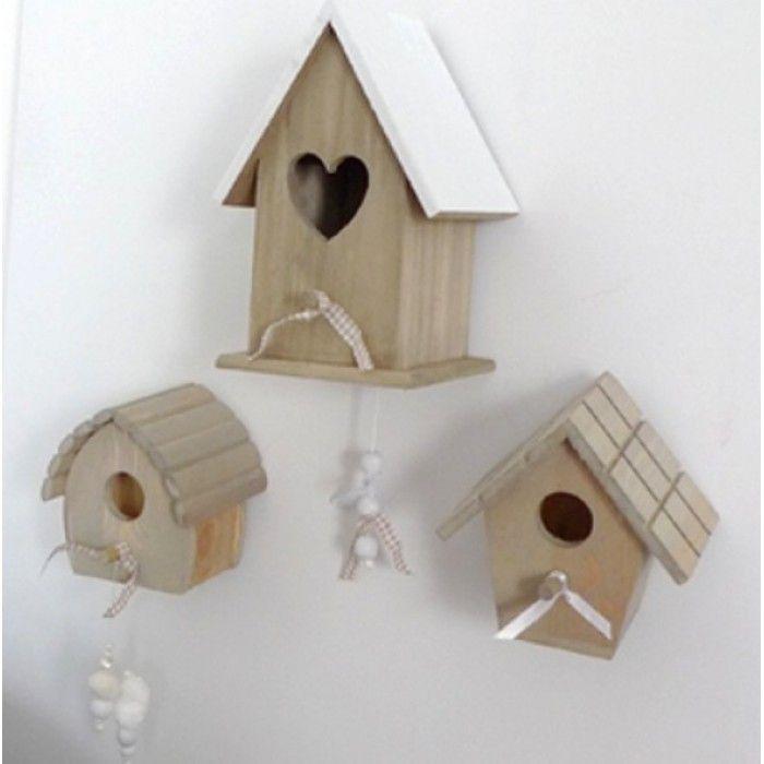 Vogelhuisjes hartje wit steigerhout met muziekdoosje