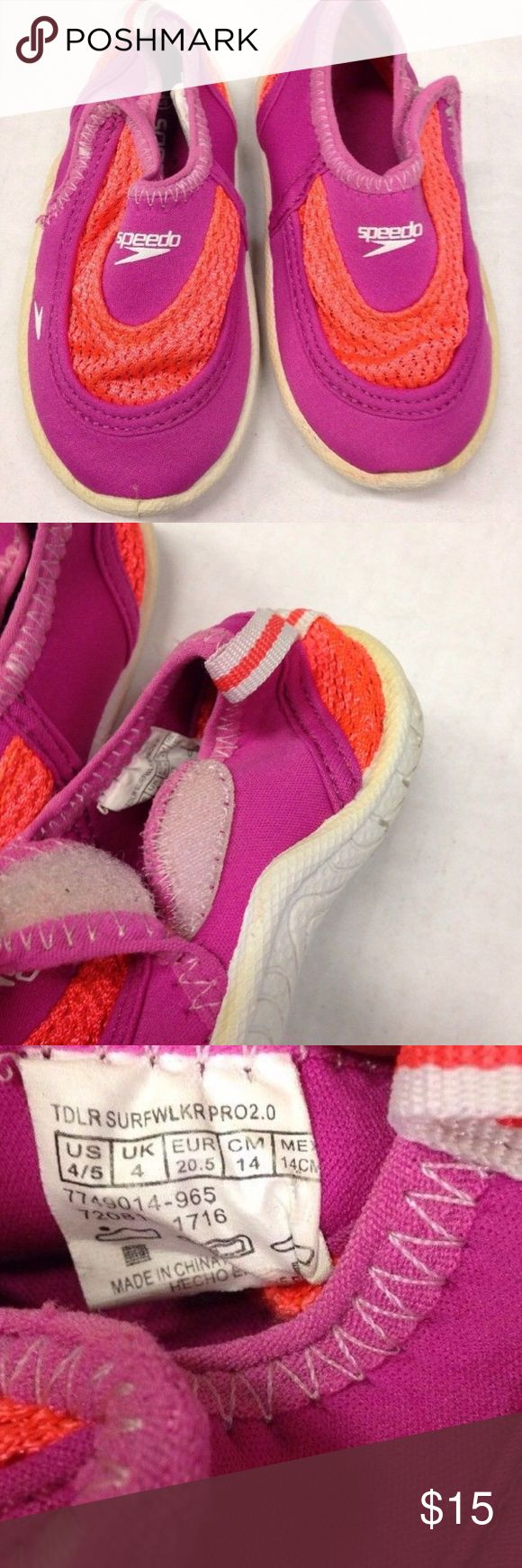 SPEEDO WATER SHOES TODDLER GIRL SZ 4/5 beach NICE PAIR OF SPEEDO WATER SHOES  TODDLER GIRL SIZE 4/5 US  PINK & ORANGE COLORS VELCRO CLOSURE  GOOD USED CONDITION. PLENTY OF LIFE LEFT  SEE PICTURES FOR DETAILS  PLEASE LOOK AT MY OTHER AUCTIONS & CONTACT ME FOR ANY QUESTIONS Speedo Shoes Water Shoes