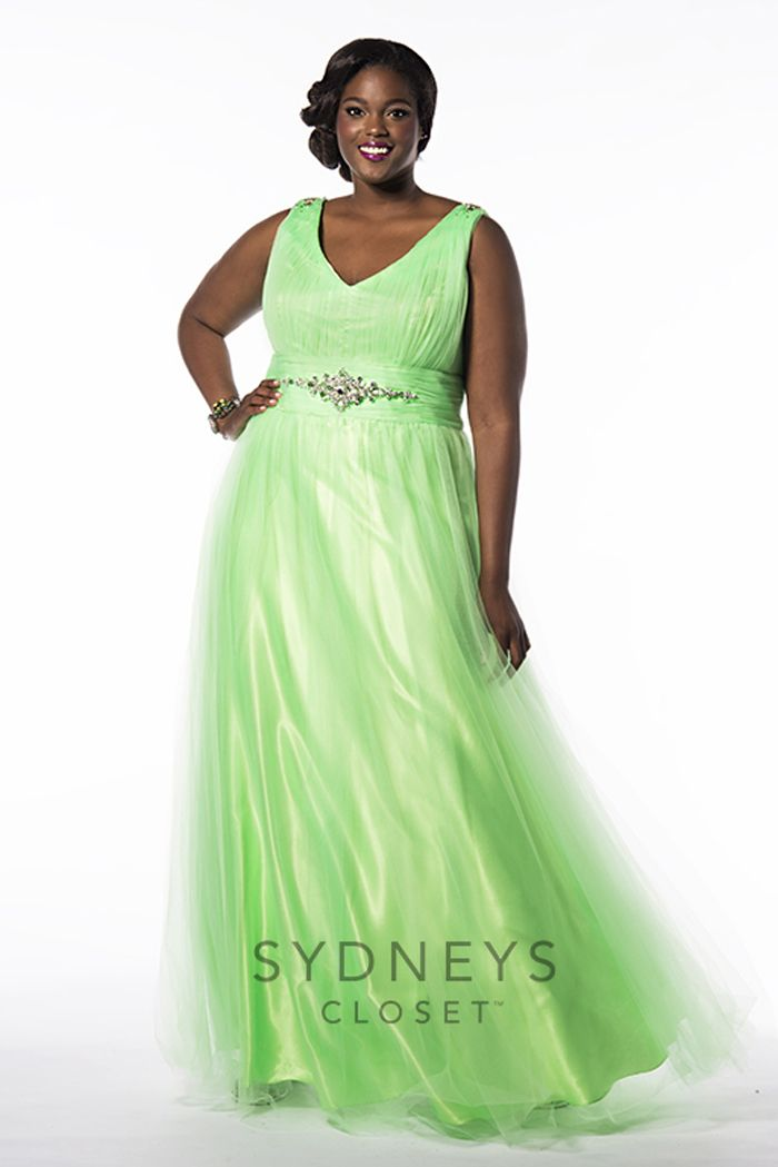 Light up the night at prom in this fun chiffon plus size #prom dress ...