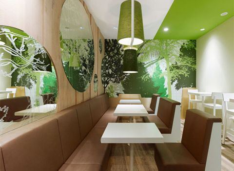 Style of the Wienerwald Restaurant, modern and bright! I like but maybe with browns, auburn/ more warm colors