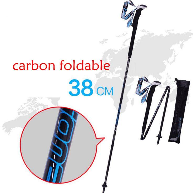 Esquí Esquí Snowboard plegable Postes Muleta Trekking Pole Carbon Fiber Bastón Bastones de Trekking Senderismo Escalada