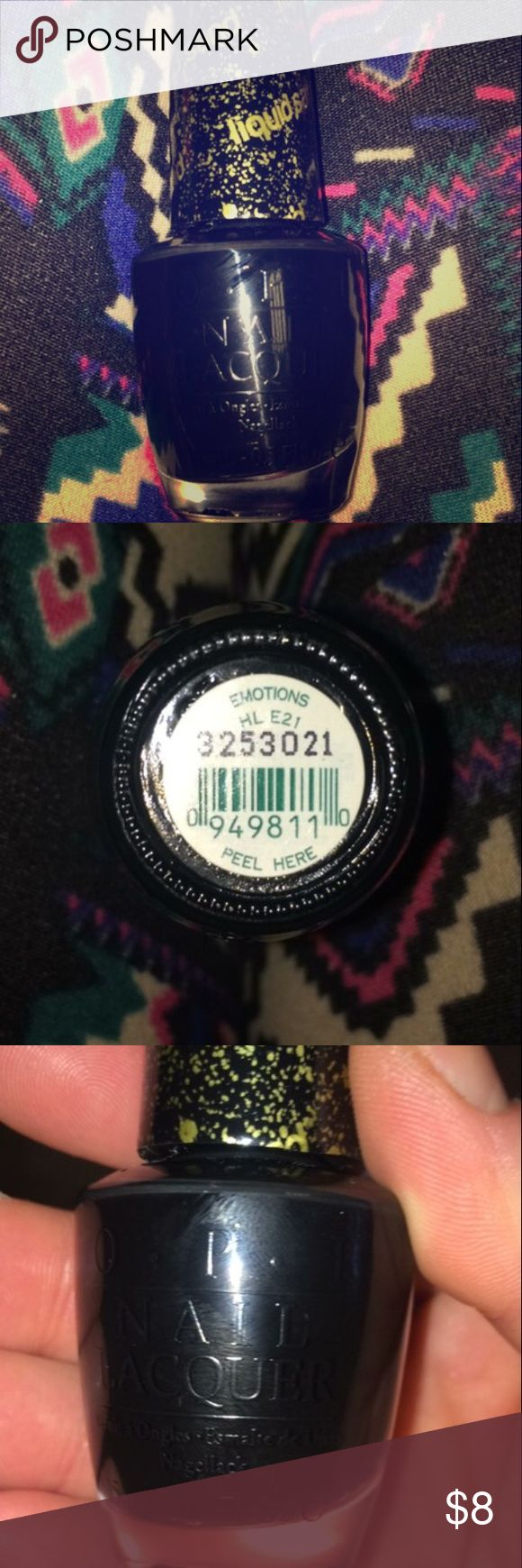 "🆕OPI ""Emotions"" liquid sand nail polish Brand new. OPI. ""Emotions"" sand polish. Has a rougher ""sand"" like look on nails, lasts longer than regular polish in my opinion. Black. OPI Makeup"