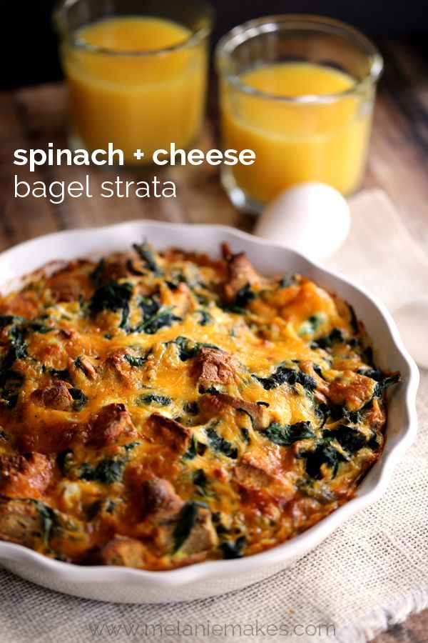 Spinach and Cheese Bagel Strata | Melanie Makes