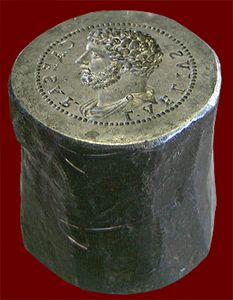 anvil coin die created by Giovanni Cavino, early sixteenth century, Padua ... This die imitates genuine coins of Lucius Aelius Caesar, adopted son and heir of Hadrian who died prematurely in January of 138 CE before he could succeed the emperor.  Paris, Cabinet des Médailles, Bibliothèque Nationale. Credits: Barbara McManus, 2009 Keywords: coin; coinmaking [http://www.vroma.org/images/mcmanus_images/indexcoins2.html]