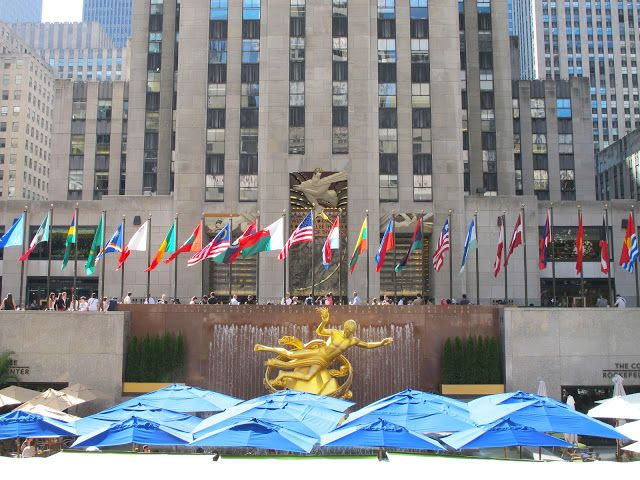 The lower plaza of Rockefeller Center featuring the unmistakable Prometheus statue.