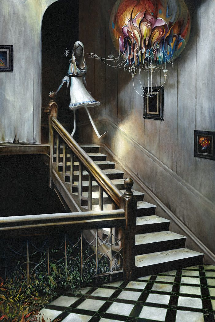 "Esao Andrews, ""Polished & Powdered"" 24""x 36"" oil on wood. 2011:"