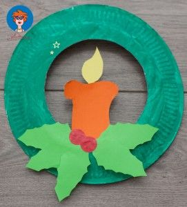 Paper Plate Wreath with Candle-Darling Christmas Art! Add glitter & punch a hole in top for a pipe-cleaner loop, to hang.