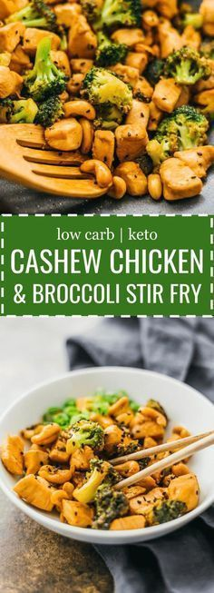Here's an easy 30-minute recipe for cashew chicken and broccoli that's healthy and low in carbs. stir fry / paleo / thai / chinese / sauce / spicy / best / gluten free / authentic / skinny / stirfry / weight watchers / fried / better than takeout / simple / clean / skillet / homemade / quick / asian / keto / low carb / diet / atkins / induction / meals / recipes / easy / dinner / lunch / foods / healthy #chicken #stirfry via @savory_tooth #asianfoodrecipes #chickenfoodrecipes