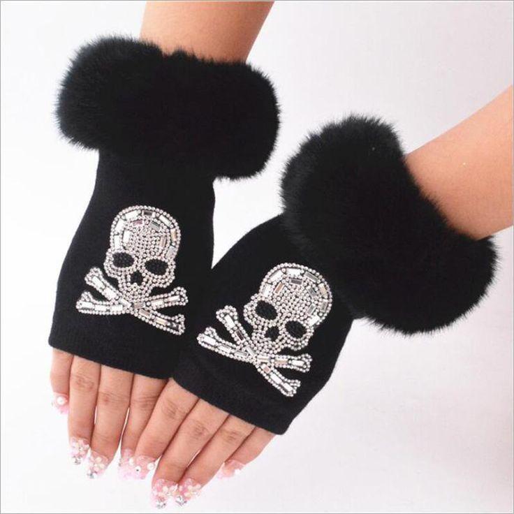 """""""Bling & Fur"""" Fingerless Skull Mittens"""