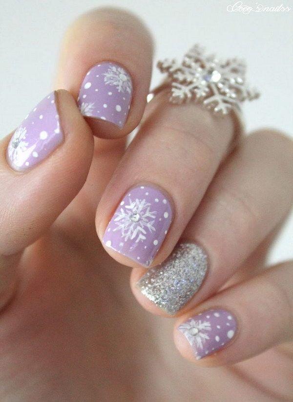 Cute Purple Snowflake Nail Art
