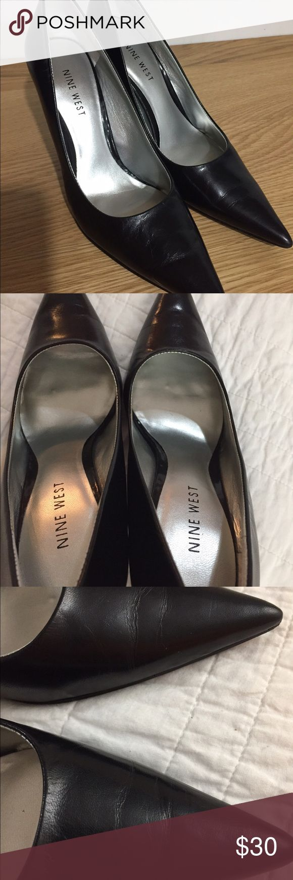 Nine West heels Worn as shown in pictures but still in great condition. Soft leather. Very comfy. They are a 6 med Nine West Shoes Heels