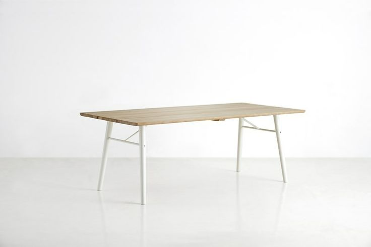 Split dining table, soap treated tabletop with white legs • Designed by Says Who #diningtable #table #planktable #design #WOUDdesign