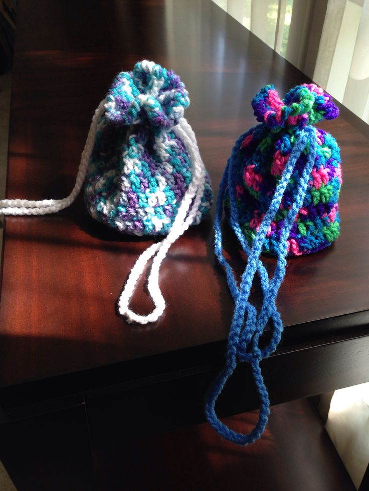 Small Drawstring Purses I Crocheted For Operation