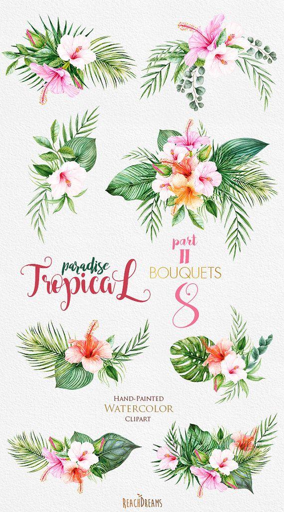 Tropicale acquerello fiori & foglie Tropic mazzi di ReachDreams